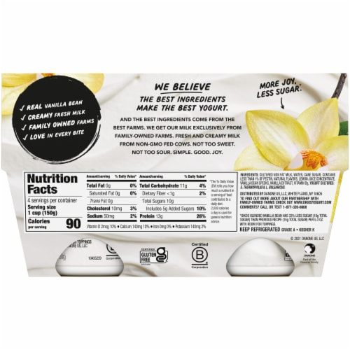 Oikos® Vanilla Bean Blended Greek Yogurt Perspective: back