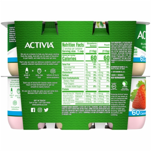 Activia Strawberry Banana & Peach Nonfat Probiotic Yogurt Perspective: back