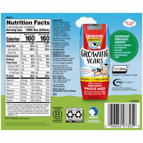 Horizon Organic® Growing Years Shelf-Stable Single-Serve Whole Milk Boxes with DHA Omega-3 Perspective: back