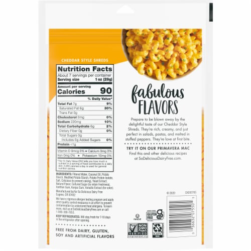 SO Delicious Dairy Free Cheddar Style Shreds Perspective: back