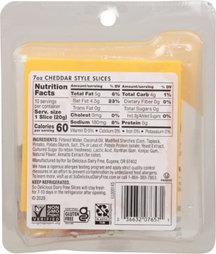 SO Delicious Dairy Free Plant-Based Cheddar Style Cheese Slices Perspective: back