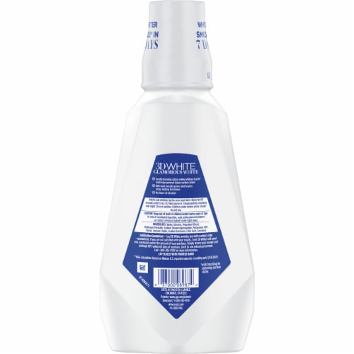 Crest® 3D White Glamorous White Alcohol Free Mulit-Care Whitening Arctic Mint Mouthwash Perspective: back