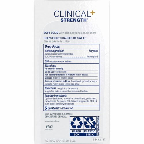Secret Clinical Strength Soft Solid Light & Fresh Antiperspirant Deodorant Stick Perspective: back