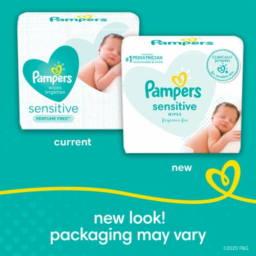Pampers Sensitive Perfume Free Baby Wipes Refills Perspective: back