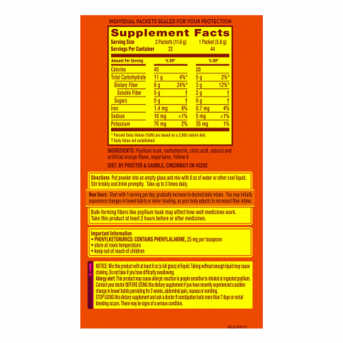 Metamucil Sugar Free Orange Smooth Fiber Powder Dietary Supplement Perspective: back