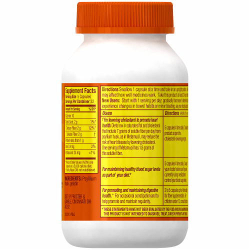 Metamucil 3 In 1 Daily Fiber Supplement Capsules Perspective: back