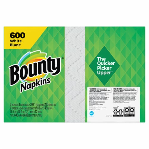 Bounty White Paper Napkins Perspective: back