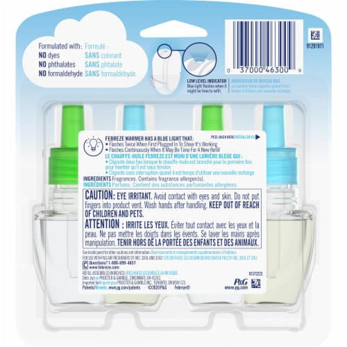 Febreze Plug Morning & Dew Air Freshener Scented Oil Refill Perspective: back