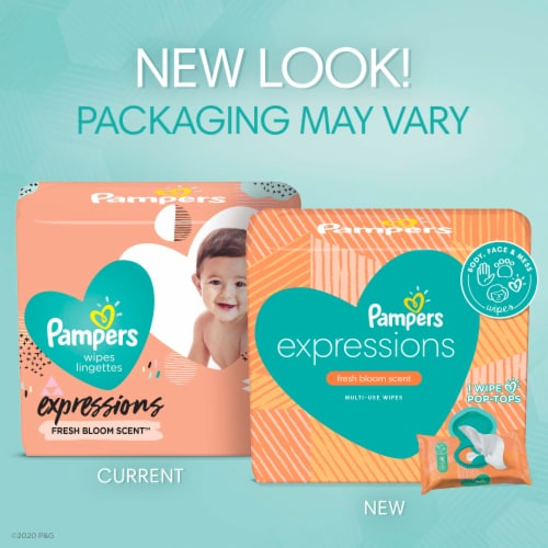 Pampers Expressions Fresh Bloom Scent Baby Wipes Perspective: back