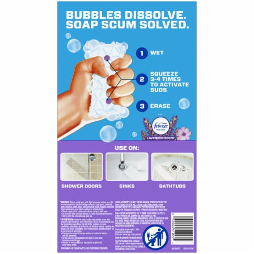 Mr. Clean Lavender Scent Magic Eraser Bath with Febreze Cleaning Pads Perspective: back
