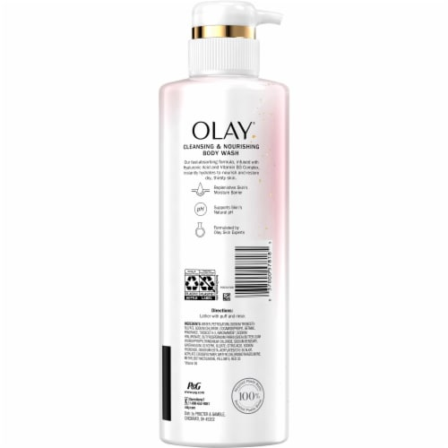 Olay Cleansing & Nourishing Vitamin B3 and Hyaluronic Acid Body Wash Perspective: back