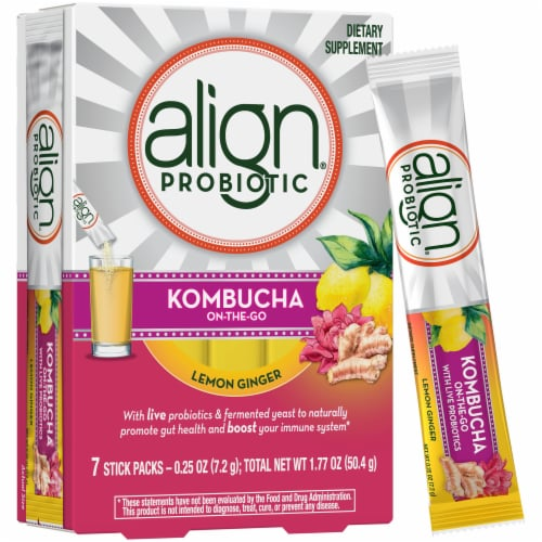 Align Kombucha On-the-Go Lemon Ginger Probiotic Drink Mix Perspective: back