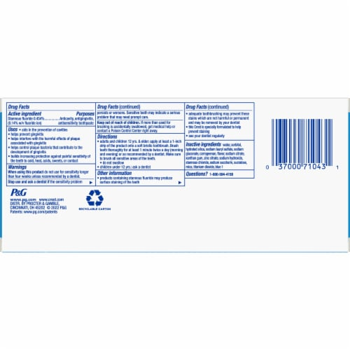 Crest Pro-Health Toothpaste Teeth Whitening Gel Paste Twin Pack Perspective: back