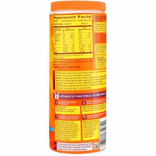 Metamucil Sugar-Free 4-in-1 Orange Flavor Smooth Daily Fiber Supplement Perspective: back