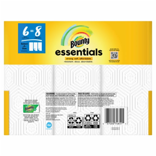 Bounty Essentials Select-a-Size White Big Roll Paper Towels Perspective: back