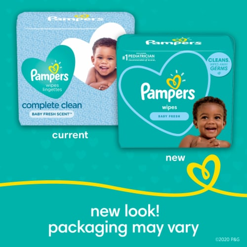 Pampers Complete Clean Baby Fresh Wipes Pop-Top Packs Perspective: back