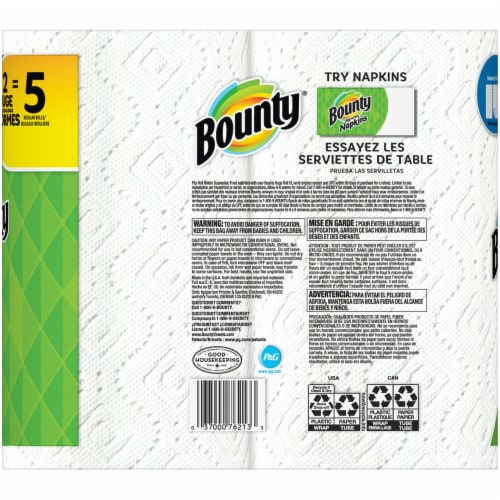 Bounty Select-A-Size Double Plus Rolls Paper Towels Perspective: back