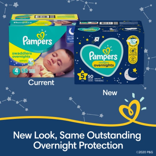 Pampers Swaddlers Overnights Size 3 Baby Diapers Super Pack Perspective: back