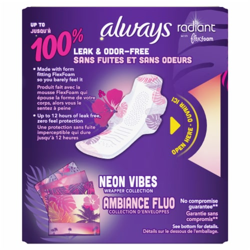 Always Radiant Size 4 Overnight Pads with Wings Perspective: back