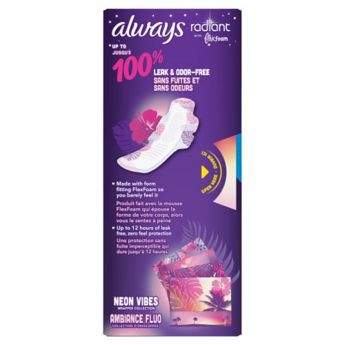 Always Radiant Size 5 Extra Heavy Overnight Scented Pads with Flexi-Wings Perspective: back
