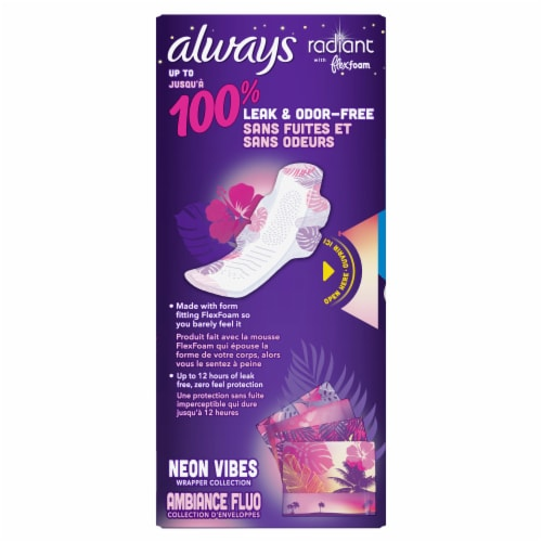 Always Radiant FlexFoam Size 4 Scented Overnight Pads with Wings Perspective: back
