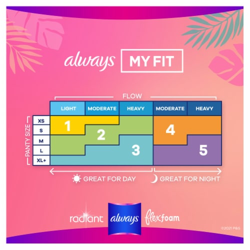 Always Radiant Teen Regular Unscented Pads with FlexFoam Wings Perspective: back