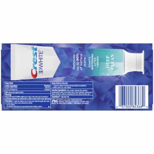 Crest 3D White Deep Clean Toothpaste Perspective: back
