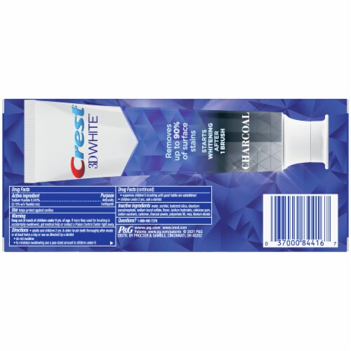 Crest 3D White Charcoal Toothpaste Perspective: back