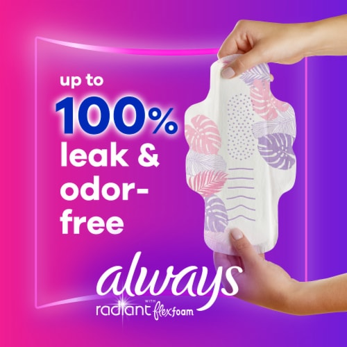 Always Radiant Size 2 Scented Heavy Flow Pads with Wings Perspective: back