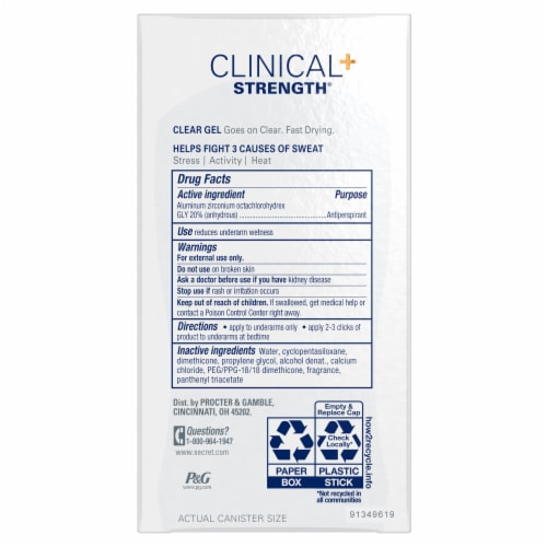 Secret Clinical Strength Clear Gel Antiperspirant and Deodorant for Women Completely Clean Perspective: back