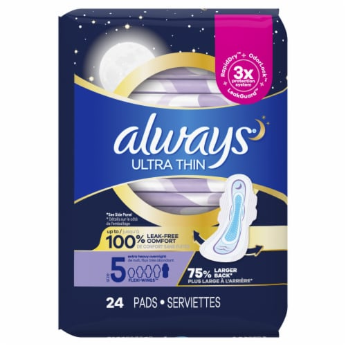Always® Ultra Thin Size 5 Extra Heavy Overnight Unscented Pads with Flexi-Wings Perspective: back