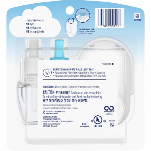 Febreze Odor-Eliminating Fade Defy PLUG Linen & Sky Air Freshener Starter Kit Perspective: back