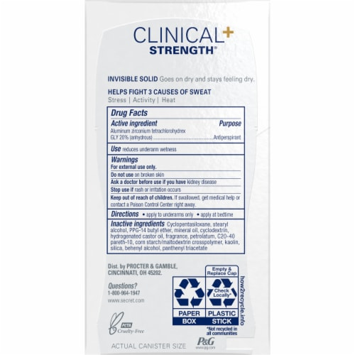 Secret Clinical Strength Stress Response Invisible Solid Antiperspirant Deodorant Perspective: back