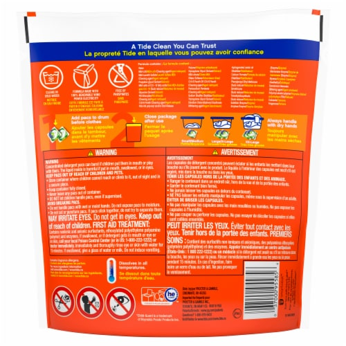 Tide PODS 3 in 1 Original Laundry Detergent Pacs Perspective: back