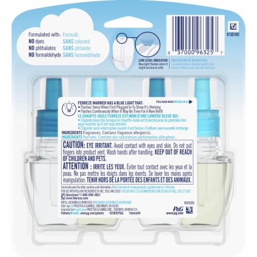 Febreze Plug Bora Bora Waters Air Freshener Scented Oil Refill Perspective: back