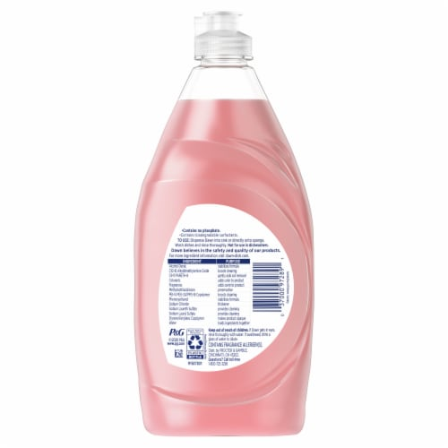 Dawn Ultra Gentle Clean Pomegranate & Rose Water Scent Dishwashing Liquid Perspective: back