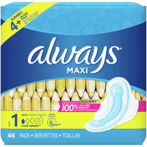 Always Unscented Size 1 Regular Maxi Pads with Wings Perspective: back