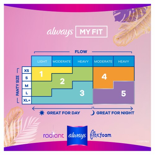Always Radiant Regular Absorbency Light Scent Size 1 Pads with FlexiWings Perspective: back