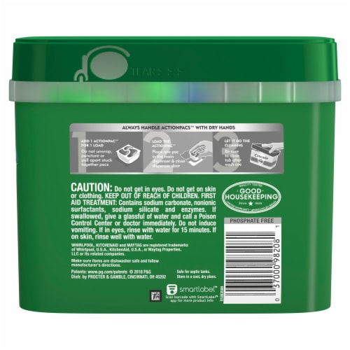 Cascade Complete Actionpacs Dishwasher Detergent Fresh Scent Perspective: back