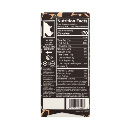 Endangered Species 72% Cocoa Hazelnut Toffee Dark Chocolate Bar Perspective: back