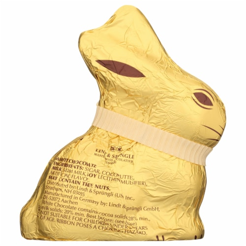 Lindt White Chocolate Gold Bunny Perspective: back