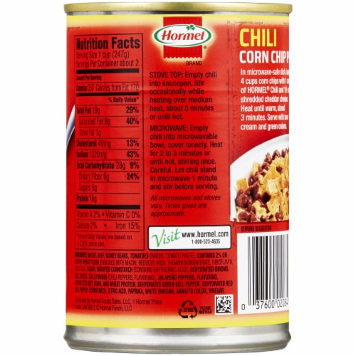 Hormel Homestyle Chili with Beans Perspective: back