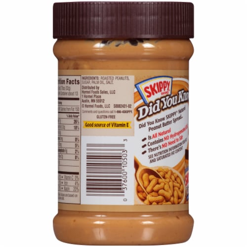 Skippy® Natural Super Chunk Extra Chunky Peanut Butter Spread Perspective: back