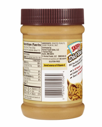 Skippy Natural Creamy Peanut Butter Spread Perspective: back