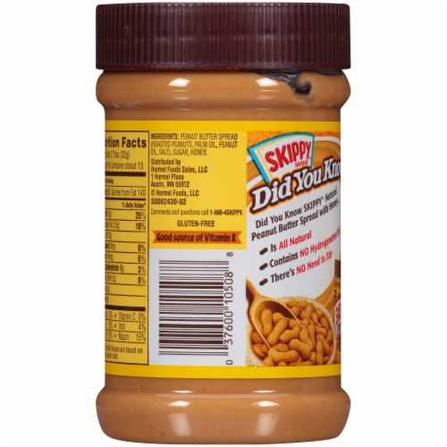 Skippy Natural Creamy Peanut Butter Spread with Honey Perspective: back