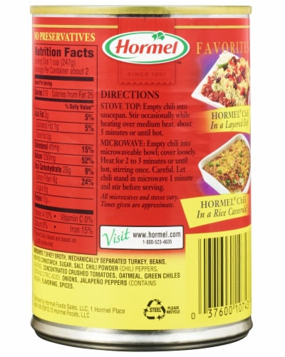 Hormel Turkey with Beans Chili Perspective: back