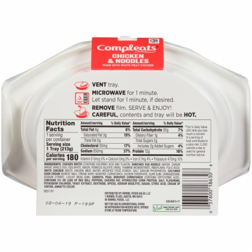 Hormel Compleats Noodles & Chicken Perspective: back