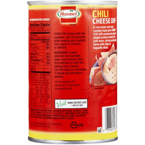 Hormel No Beans Chili Perspective: back