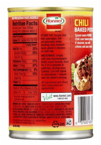 Hormel Chunky No Beans Chili Perspective: back