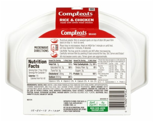 Hormel Compleats Comfort Classics Rice & Chicken Perspective: back